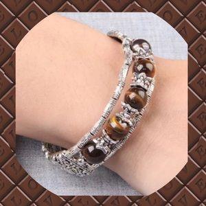 Jewelry - 🍁NEW Silver Tiger Eye Stone Bangle